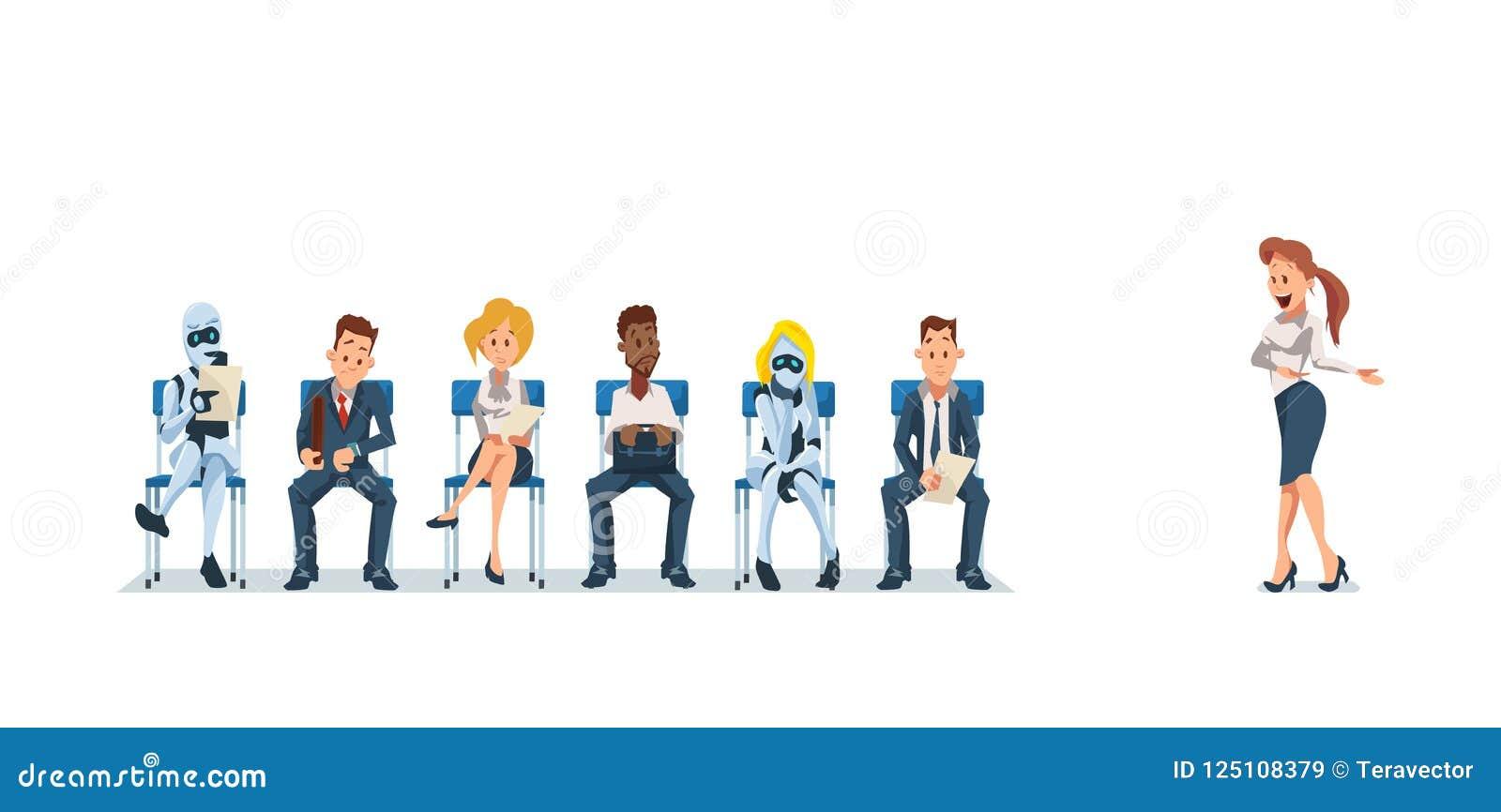 Job Interview Recruiting en Robots Vector