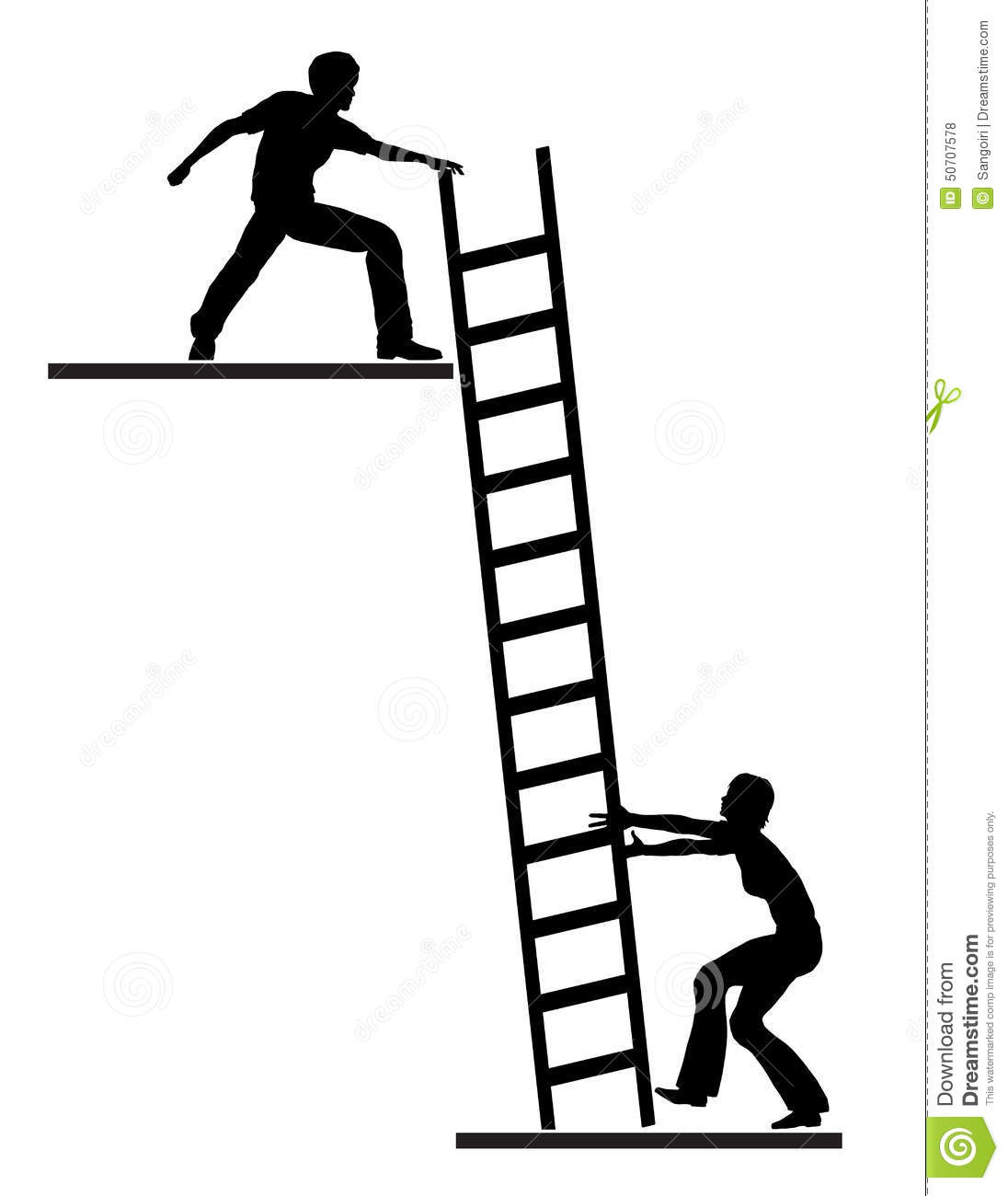 Coach assisting person to climb the ladder of success mr no pr yes 2