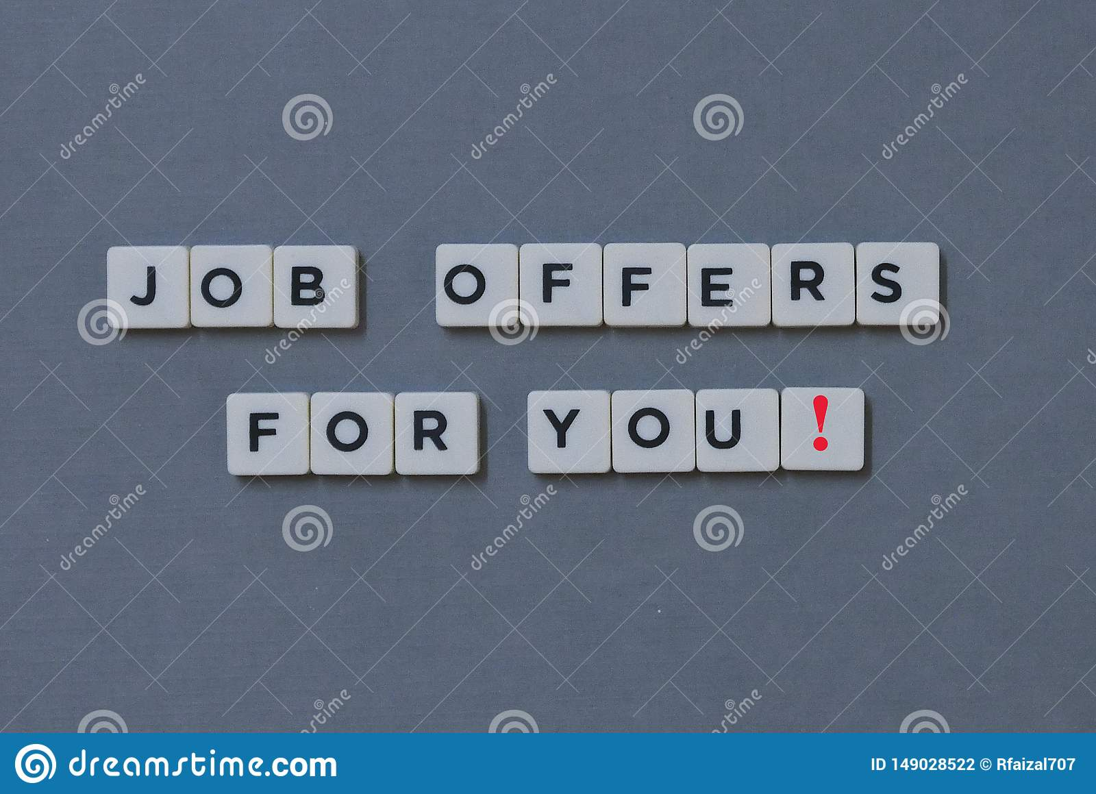 ' Job Offers For You! ' word made of square letter word on grey background