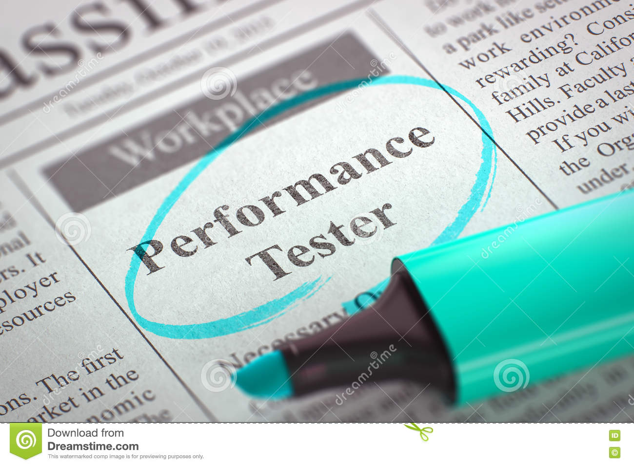 Job Opening Performance Tester 3d