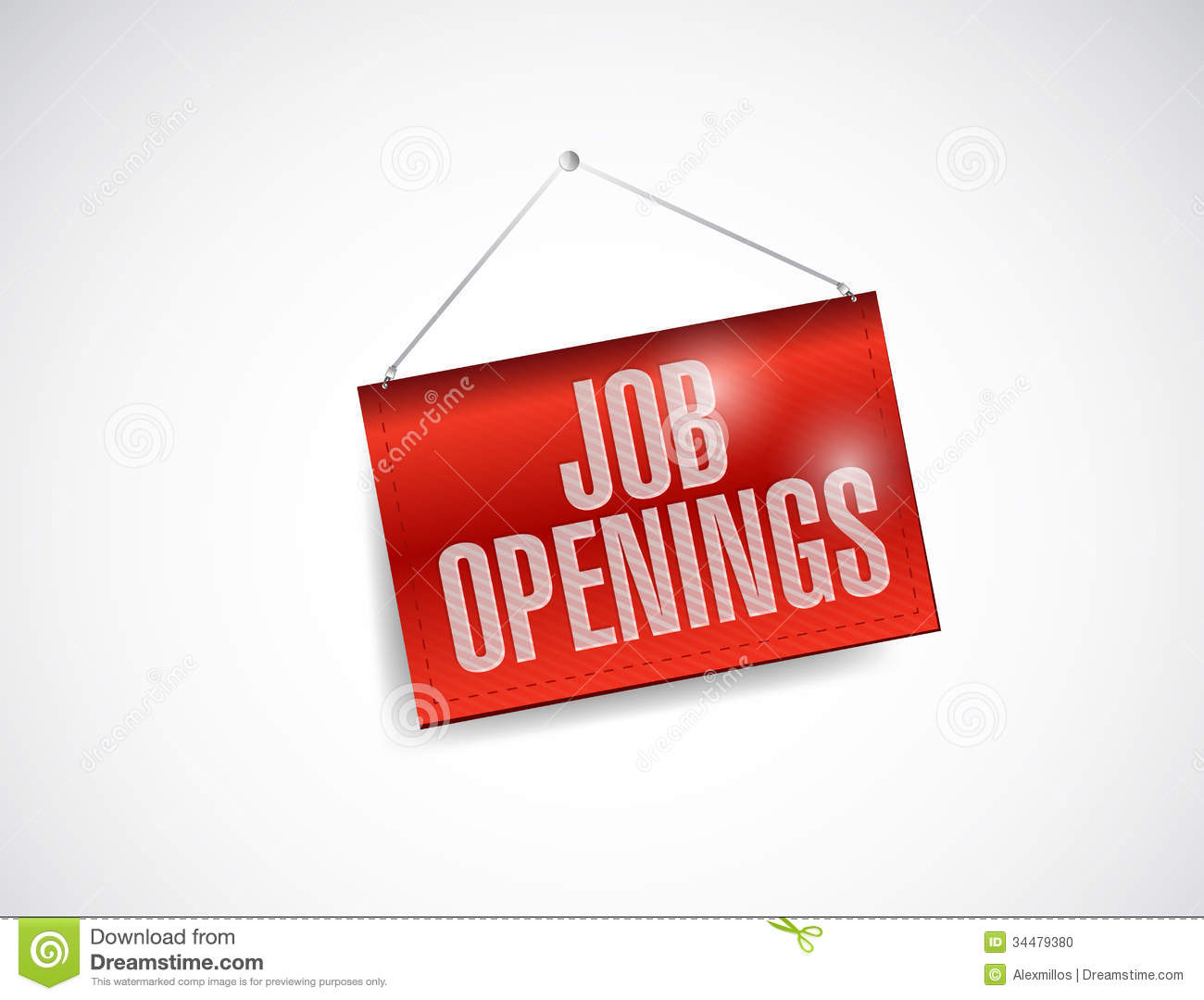 Job Openings: Job Openings Fabric Textured Hanging Banner Stock Photo