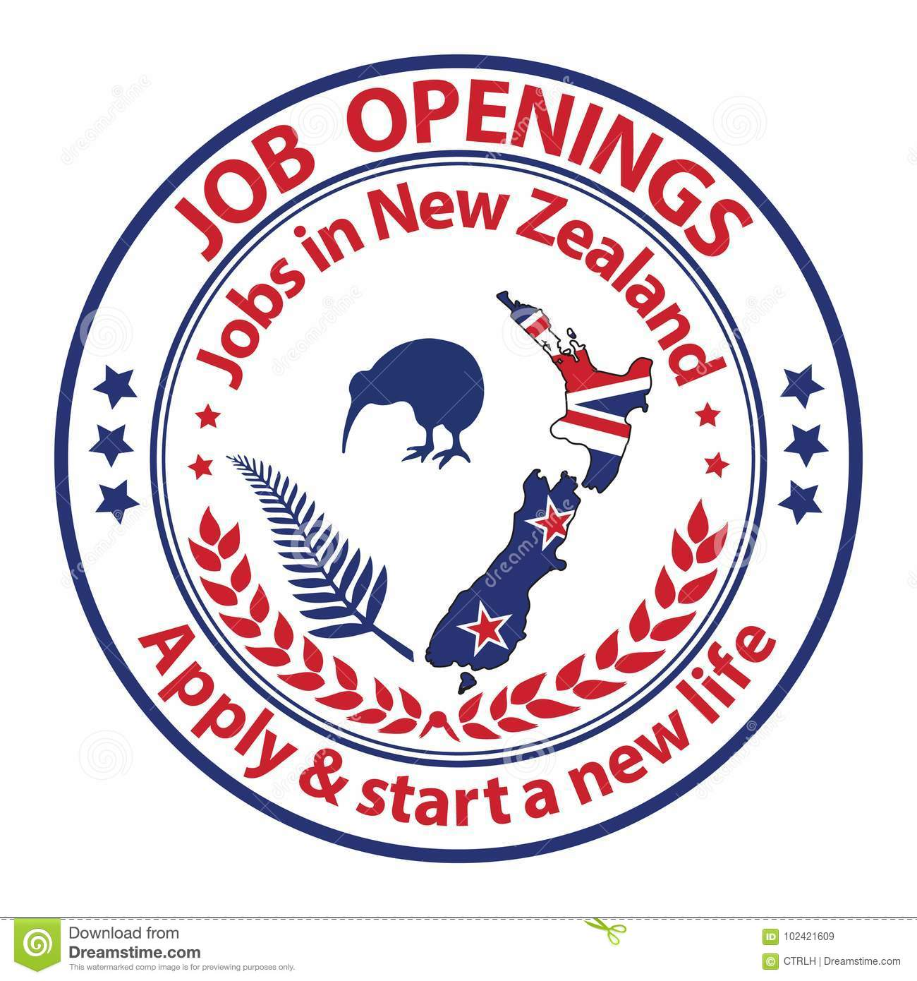 Job Openings In New Zealand - Recruitment Stamp Stock