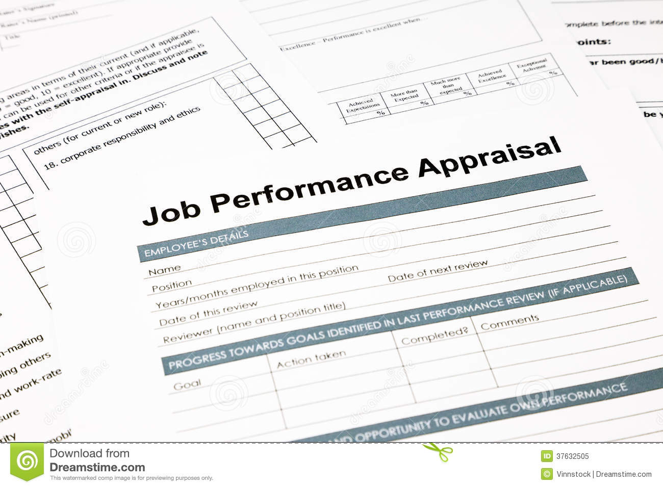 Job Performance Appraisal Form For Business Royalty Free – Employee Review Form Free Download
