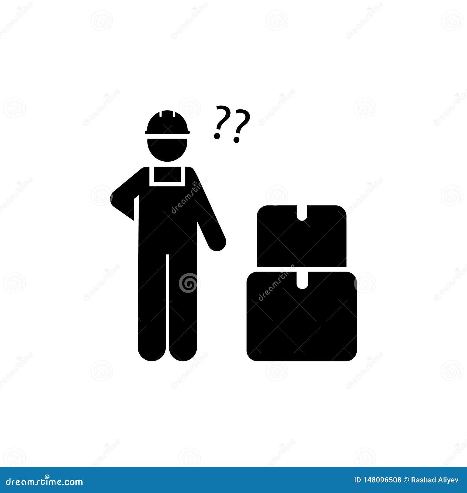 Job, Person, Kästen, Produktion, Arbeitskraftikone Element der Herstellungsikone Erstklassige Qualit?tsgrafikdesignikone Zeichen