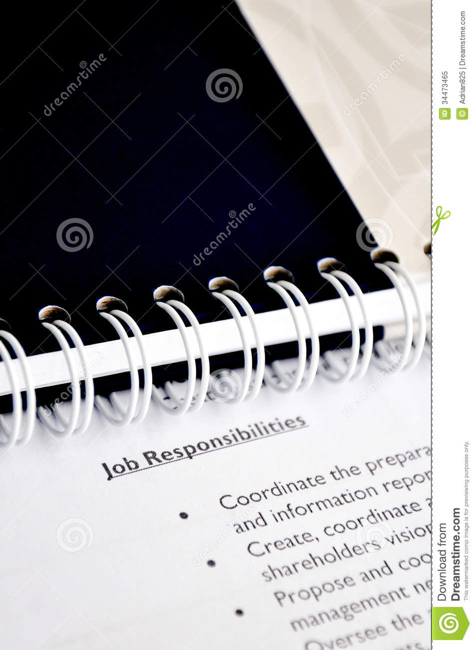 Job Responsibilities Stock Image Image Of Agencies White 34473465