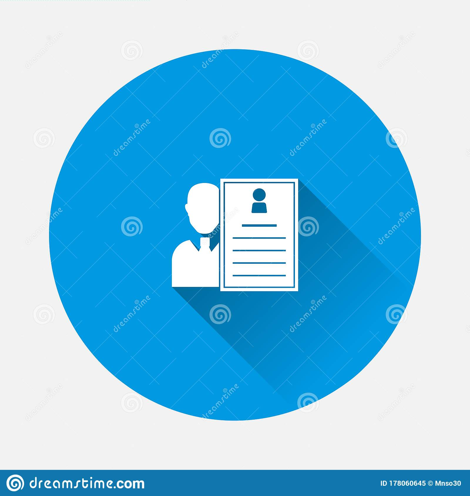 Job And Resume Icon On Blue Background Stock Vector