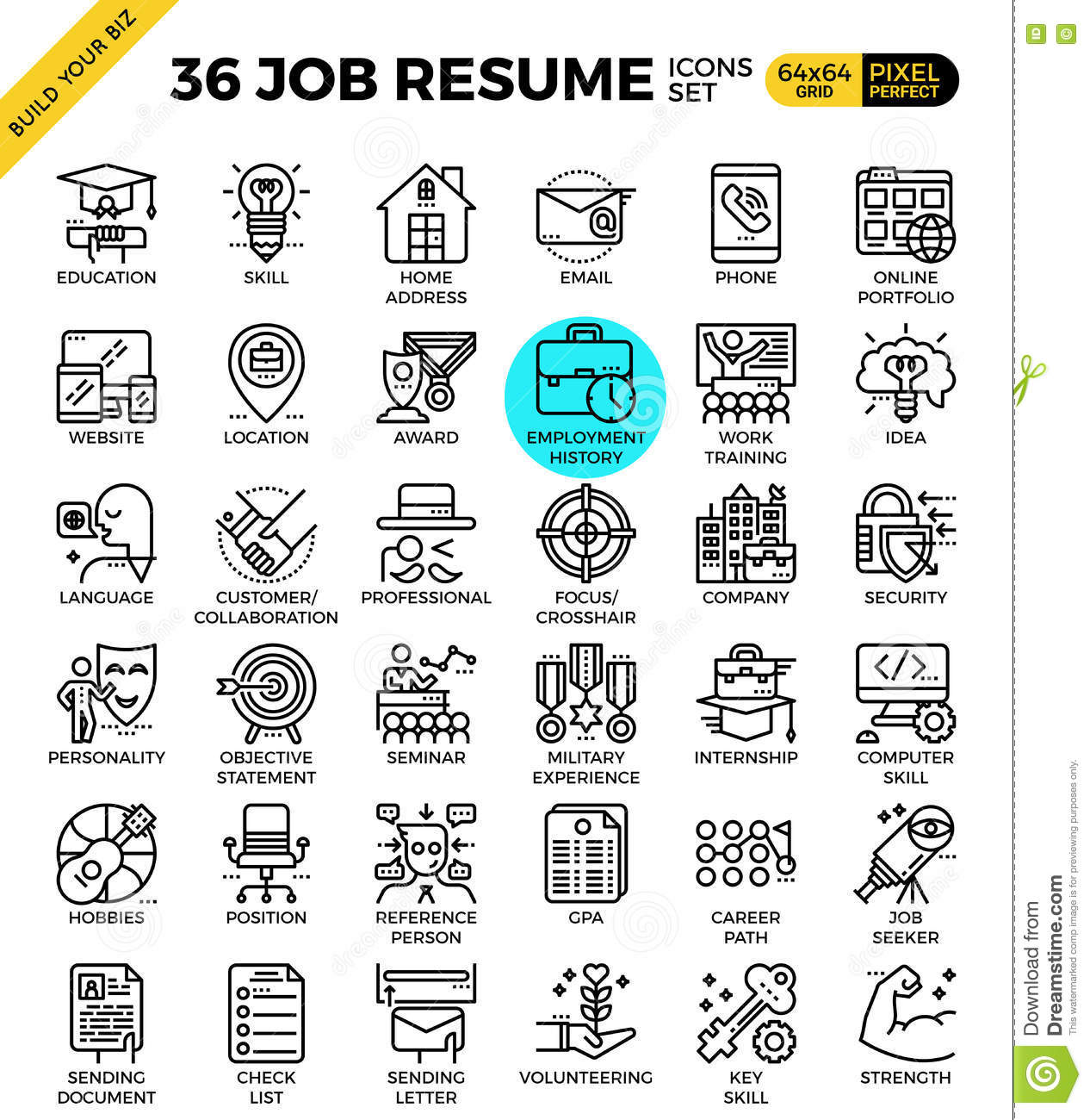Job Resume Icons Stock Vector Illustration Of Call Business 73174892