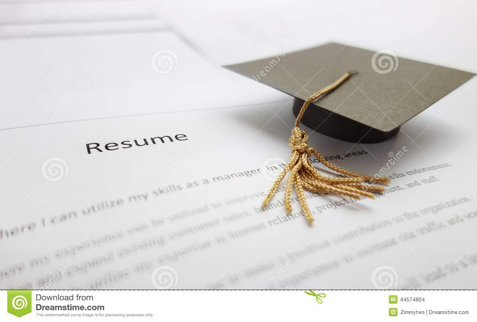 job resume stock photo image of graduation university 44574804. Black Bedroom Furniture Sets. Home Design Ideas