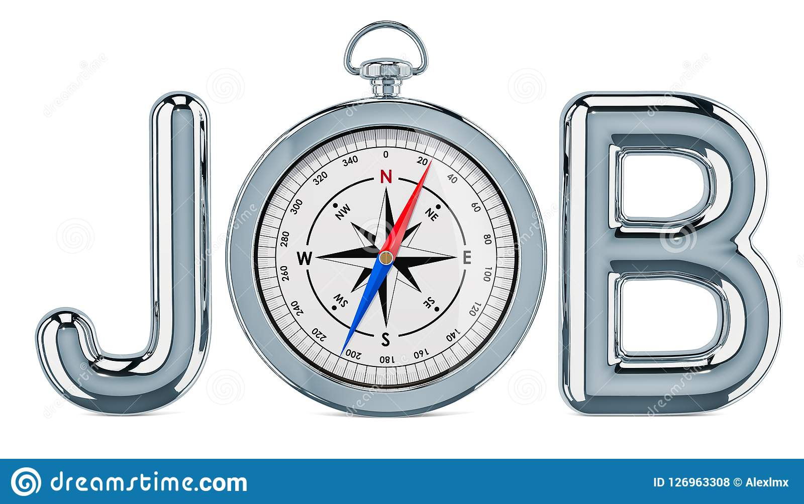 Job Search concept, with compass. 3D rendering