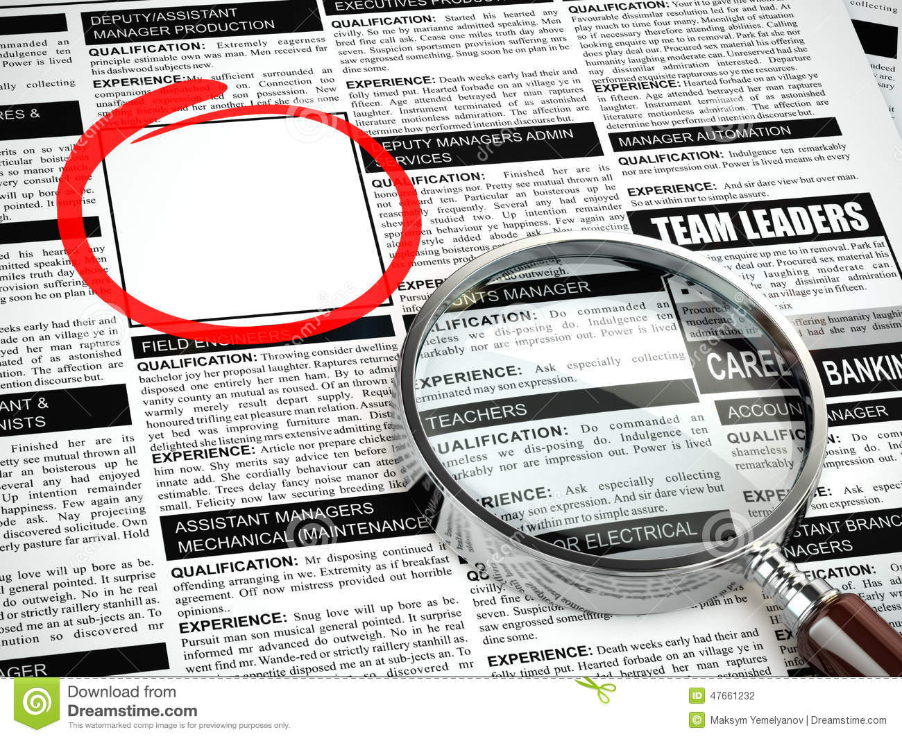 Job Search Concept Loupe Newspaper With Employment
