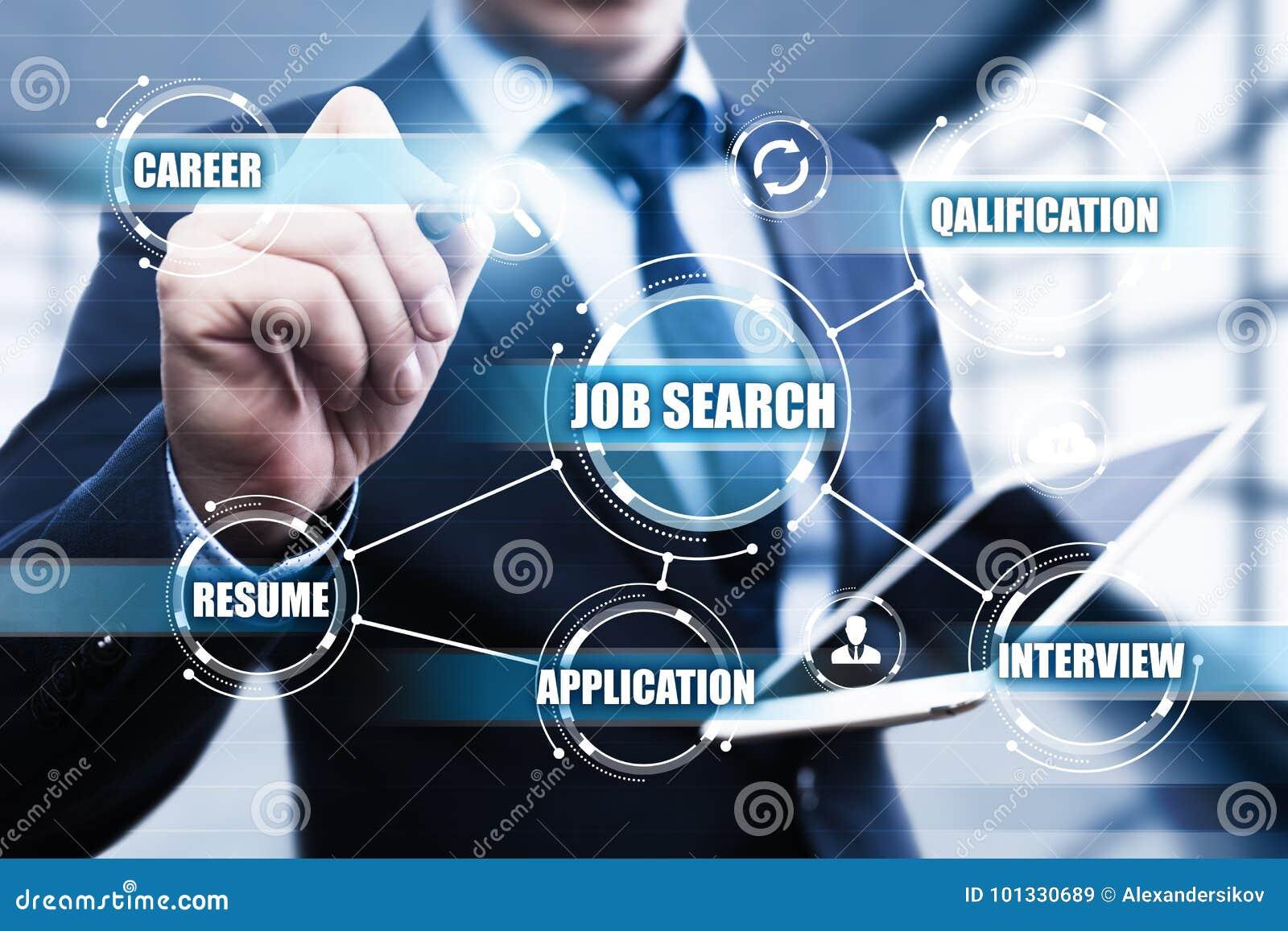 Job Search Human Resources Recruitment-Karriere-Geschäfts-Internet-Technologie-Konzept