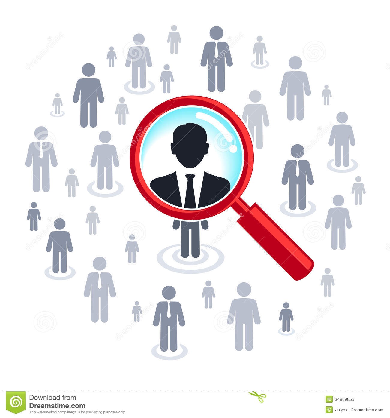 Job Search - Magnifying Glass Searching People Royalty ... Greek Columns Vector