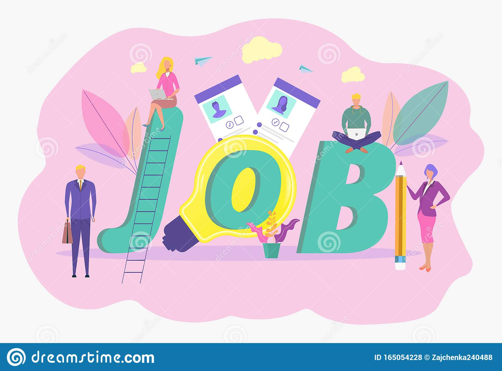 Job Search Recruitment Workgroup Web Graphic Design Summary