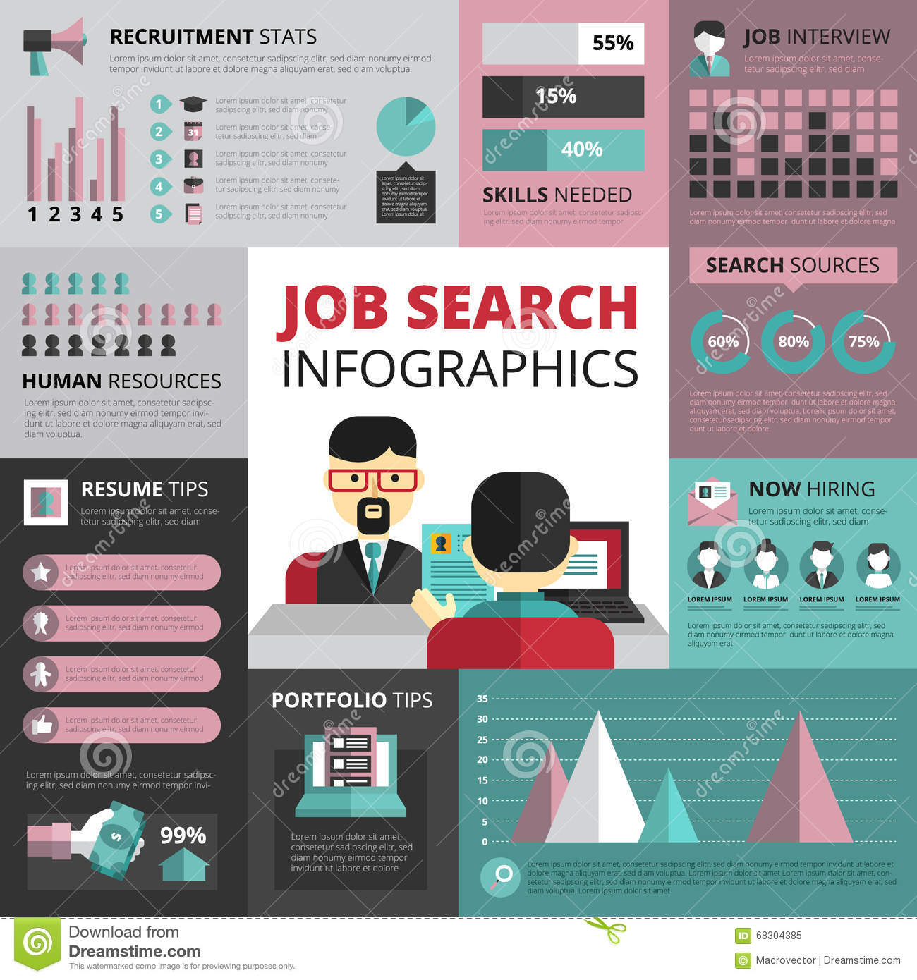 job search strategy flat infographic banner stock vector image job search strategy flat infographic banner