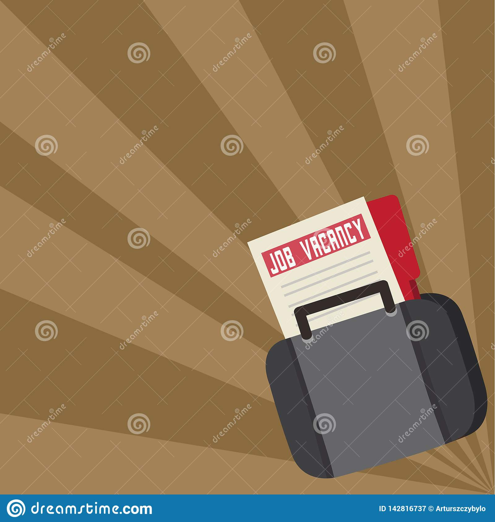 Job Seeker Vacancy File and Folder Inside a Bag. Applicant Portfolio Tucked in a Briefcase. Announcement for Employment
