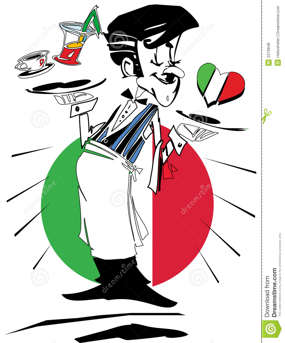 Waiter With Flag Of Italy, Cartoon Caricature Royalty Free Stock Photos - Image: 2379848