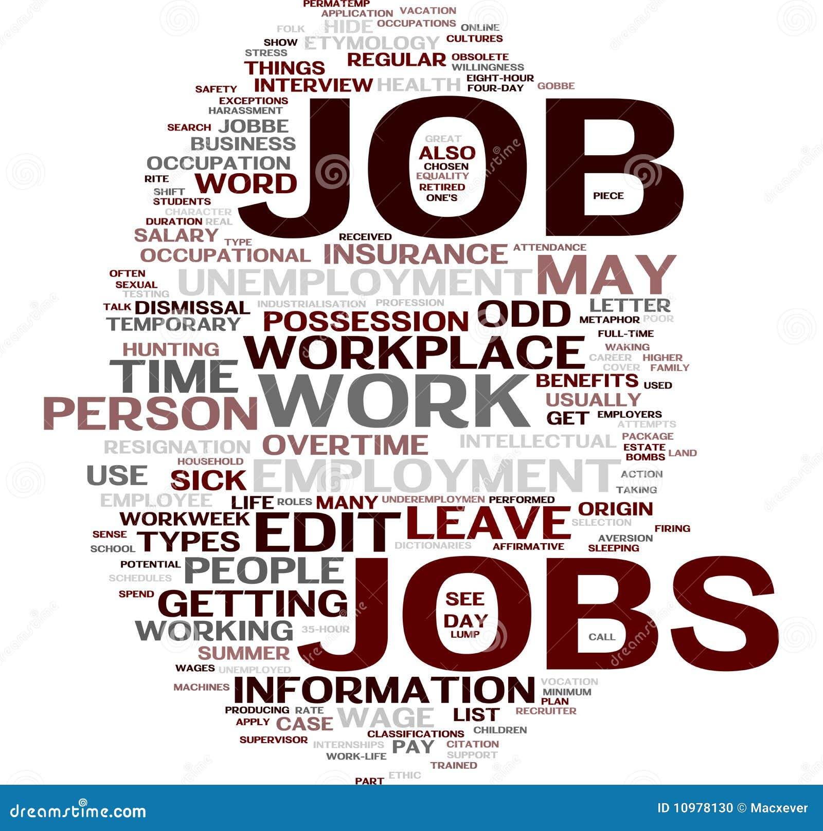 job word cloud stock photo