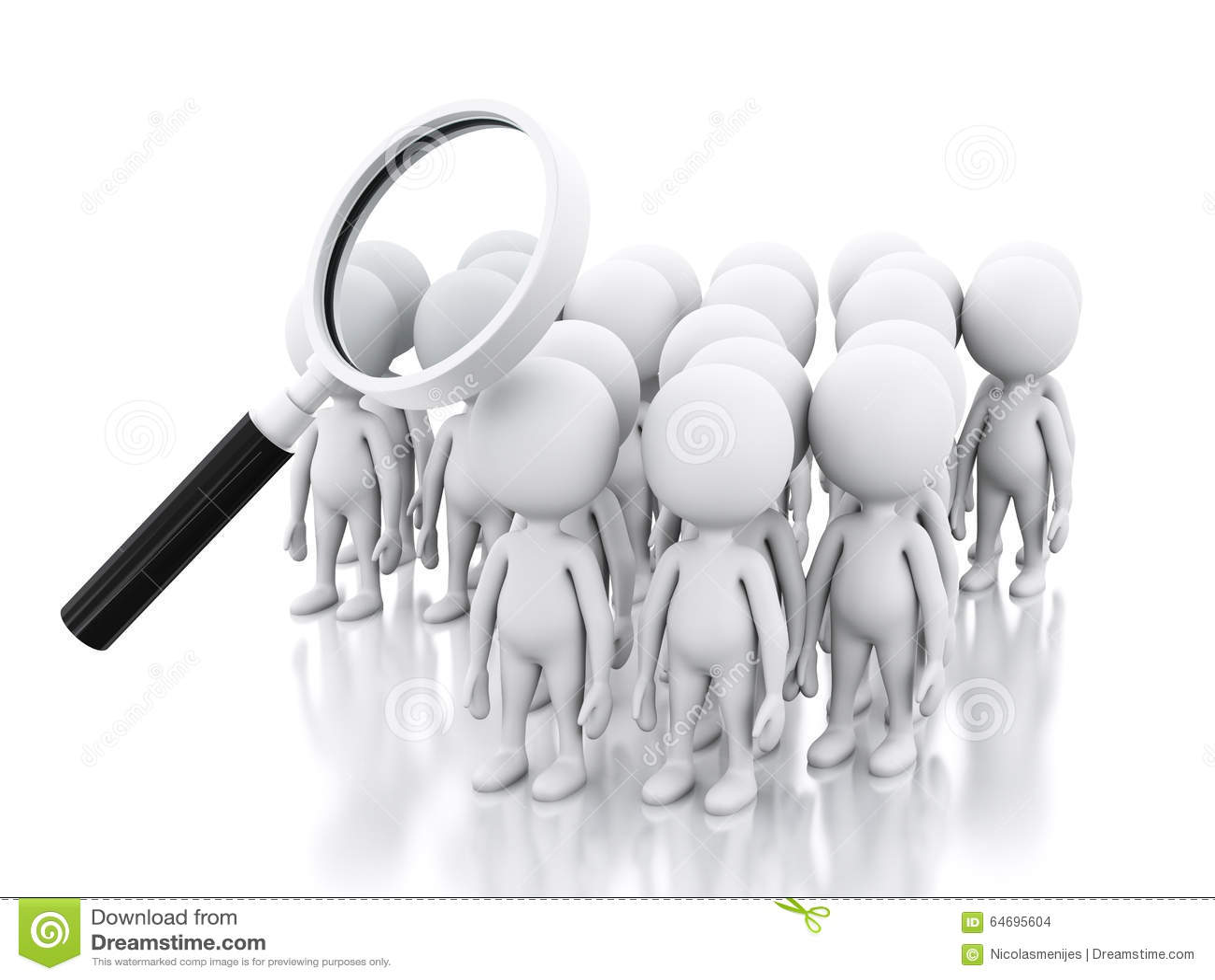 Jobb för sökande 3d med förstoringsglaset över vitt folk