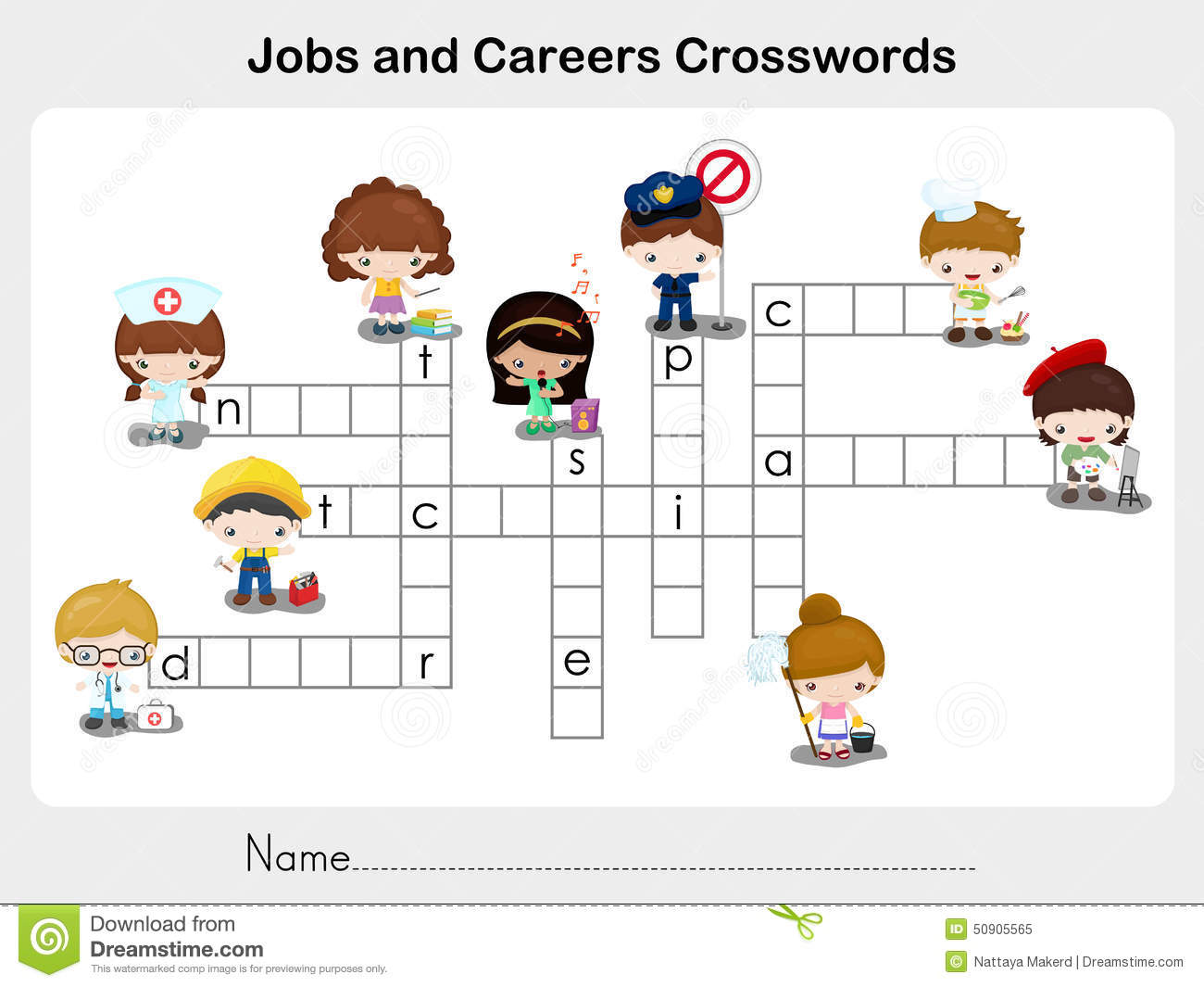 Jobs And Careers Crosswords - Worksheet For Education Stock Vector