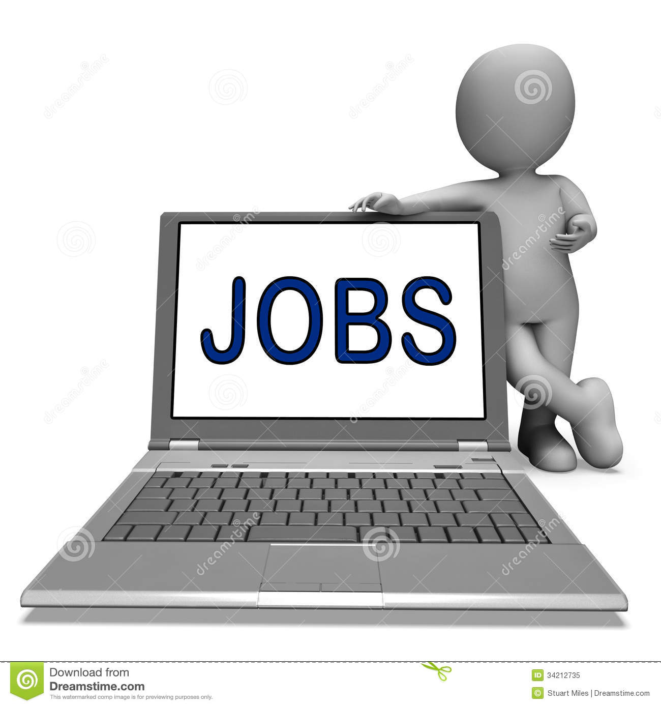 jobs on laptop shows profession employment or hiring online jobs on laptop shows profession employment or hiring online