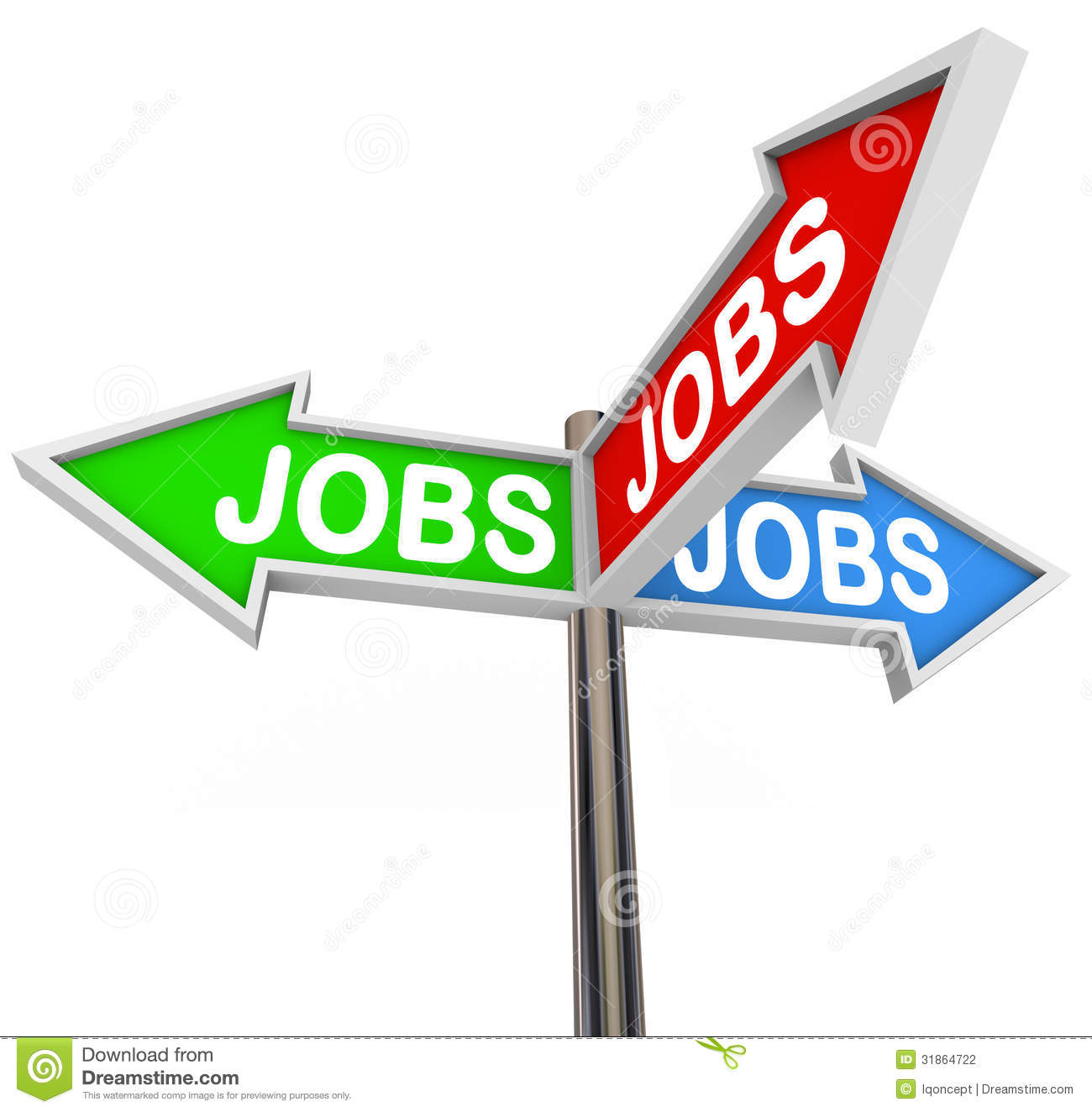 jobs street signs pointing way to new job career stock