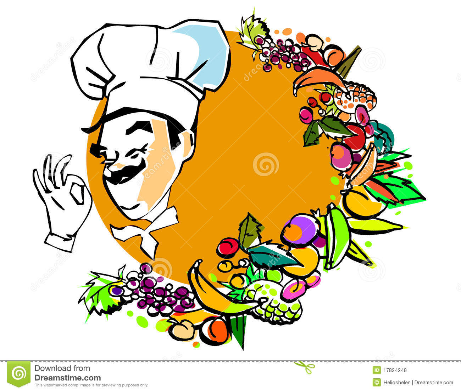 Koch bei der arbeit clipart  Jobserie, Vegetarischer Koch Stock Abbildung - Illustration von koch ...