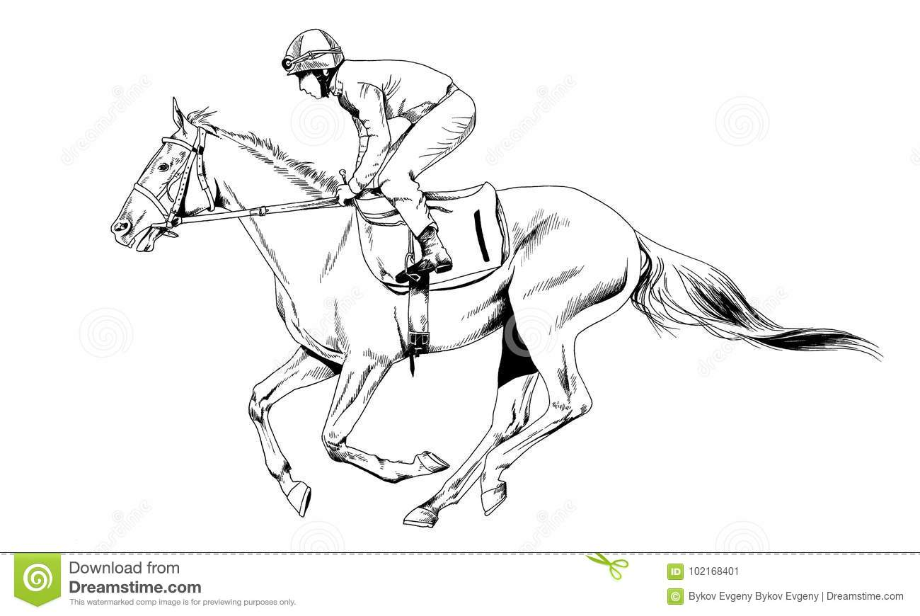 Jockey On A Galloping Horse Painted With Ink By Hand