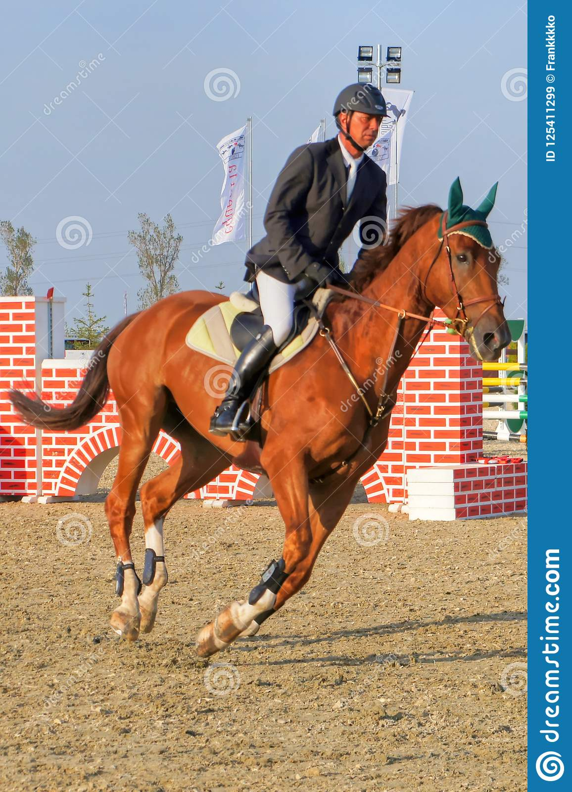 Jockey Horseback Riding On Purebred Red Horse Vertical Editorial Stock Image Image Of Equestrian Competition 125411299