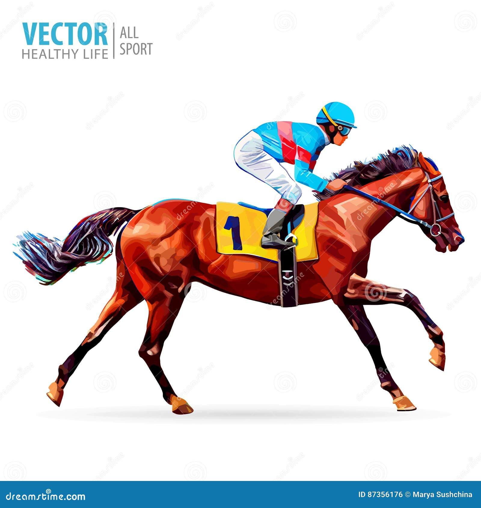 Jockey op paard kampioen Paard Racing hippodrome racetrack