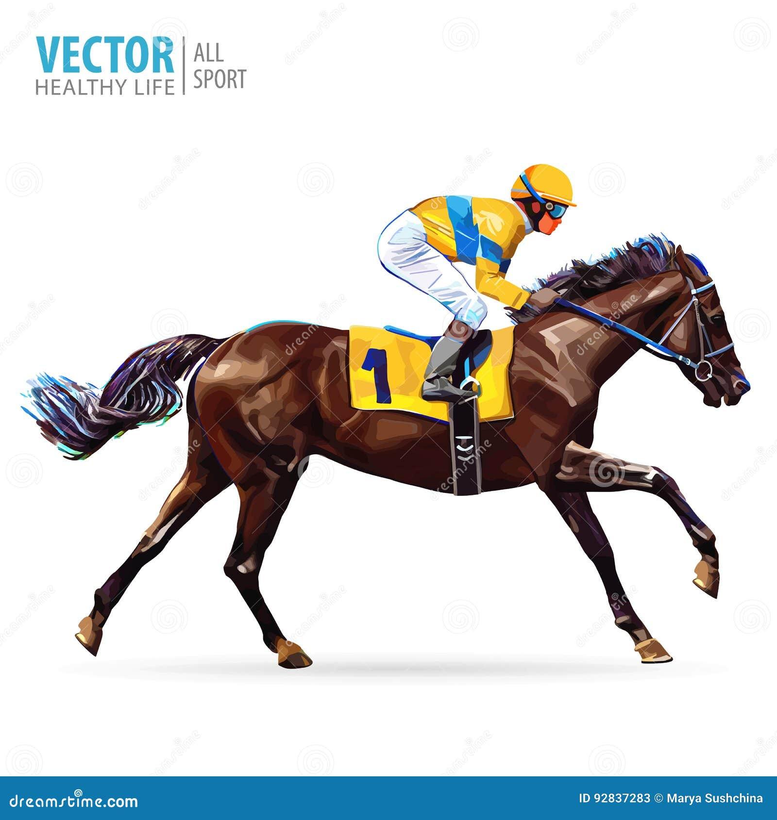 Jockey op paard kampioen Paard Racing hippodrome racetrack Sprongrenbaan Ruiter op een paard Het rennen paard die eerst komen