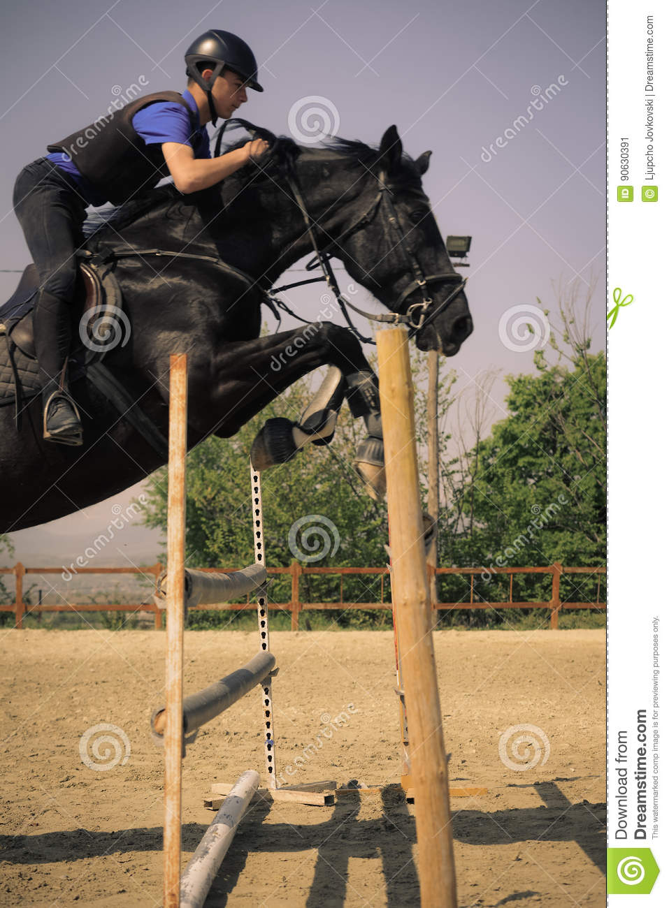 Jockey Riding A Fast Thoroughbred Horse Stock Image Image Of Gallop Blue 90630391