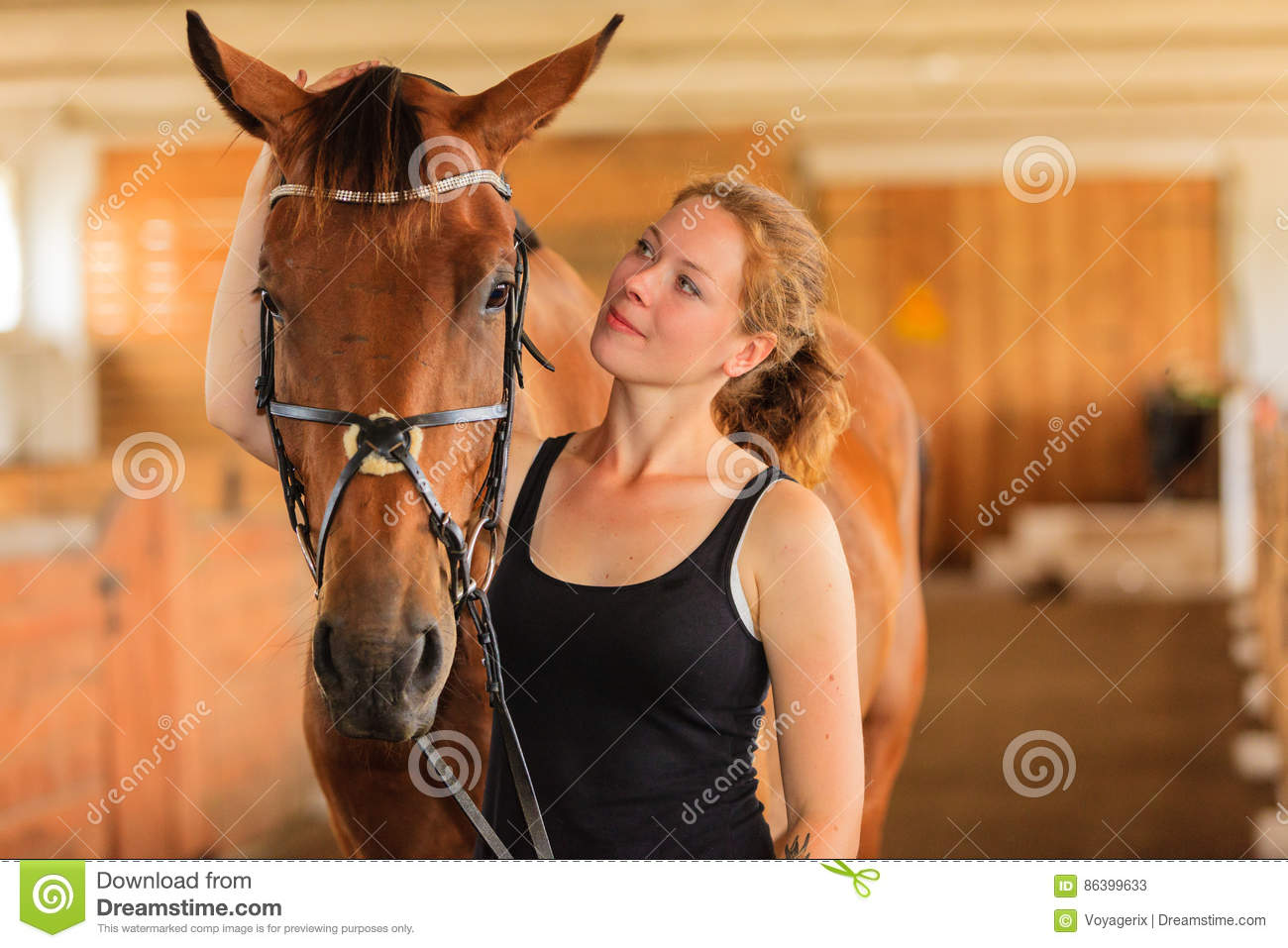 Download Jockey Young Girl Petting And Hugging Brown Horse Stock Image - Image of happy, mammal: 86399633