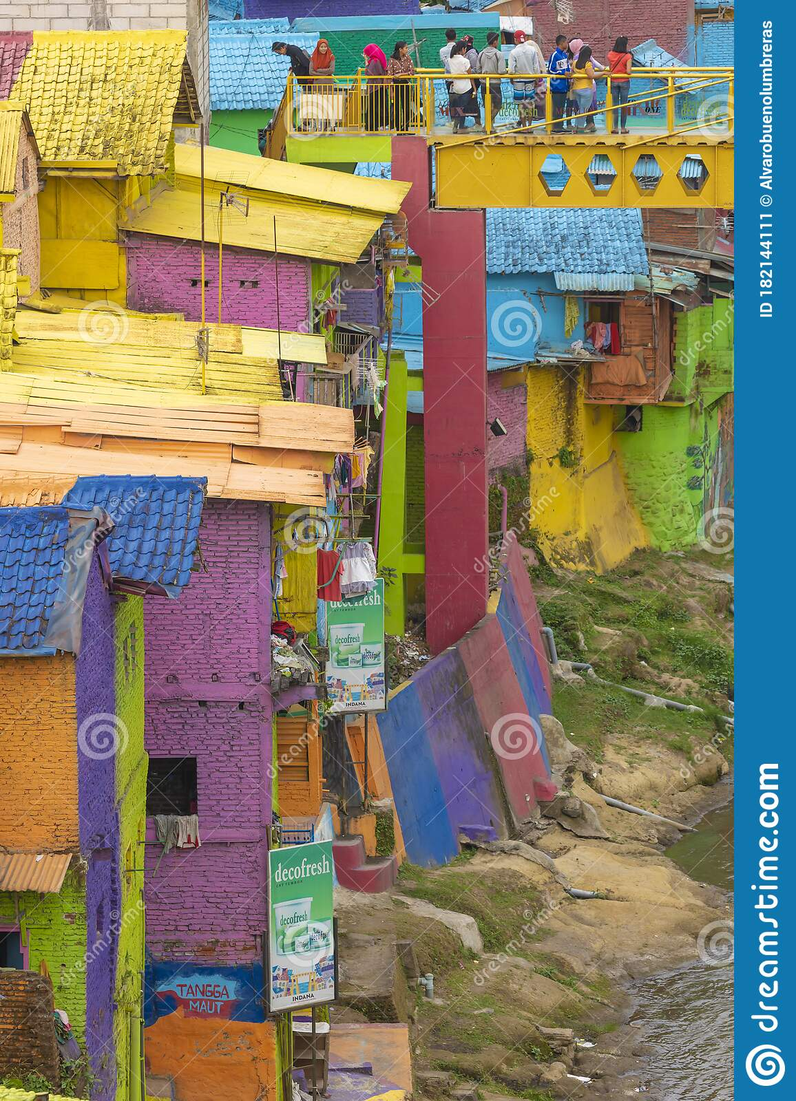 Jodipan A Small Neighborhood In Malang City Indonesia Editorial Photo Image Of Purple Indonesia 182144111