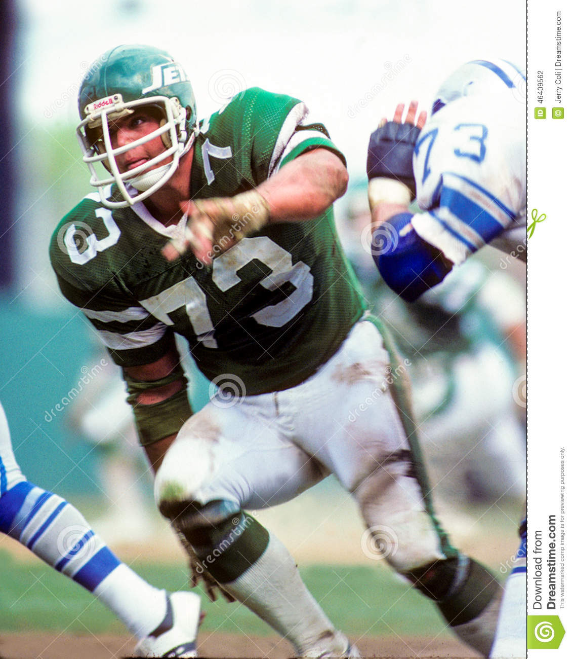 New York Jets star defensive lineman Joe Klecko #73. (Image taken from ...