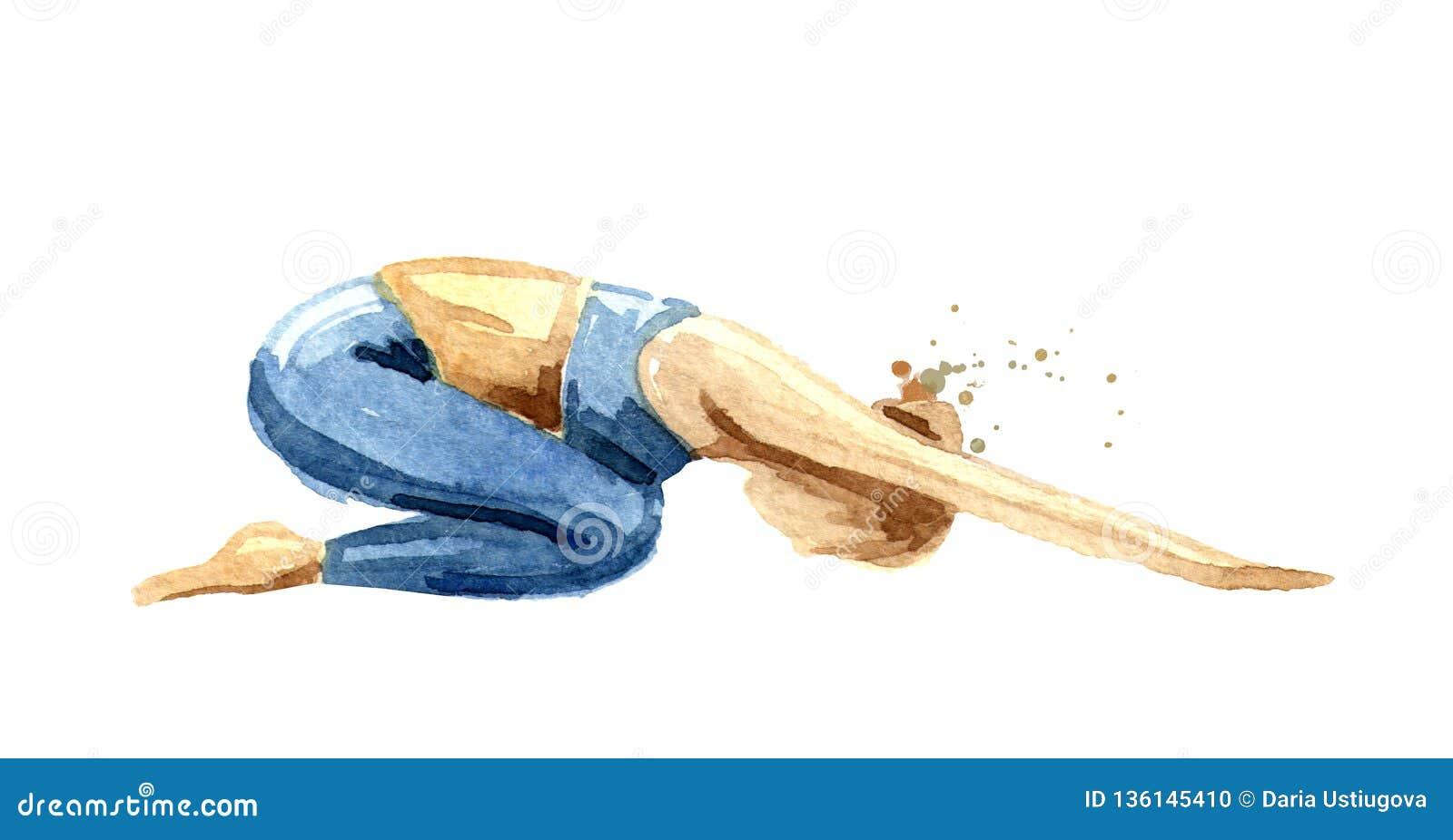 Joga pojęcie Balasana Kobiety praktyka Akwareli ręka rysująca ilustracja odizolowywająca na białym tle