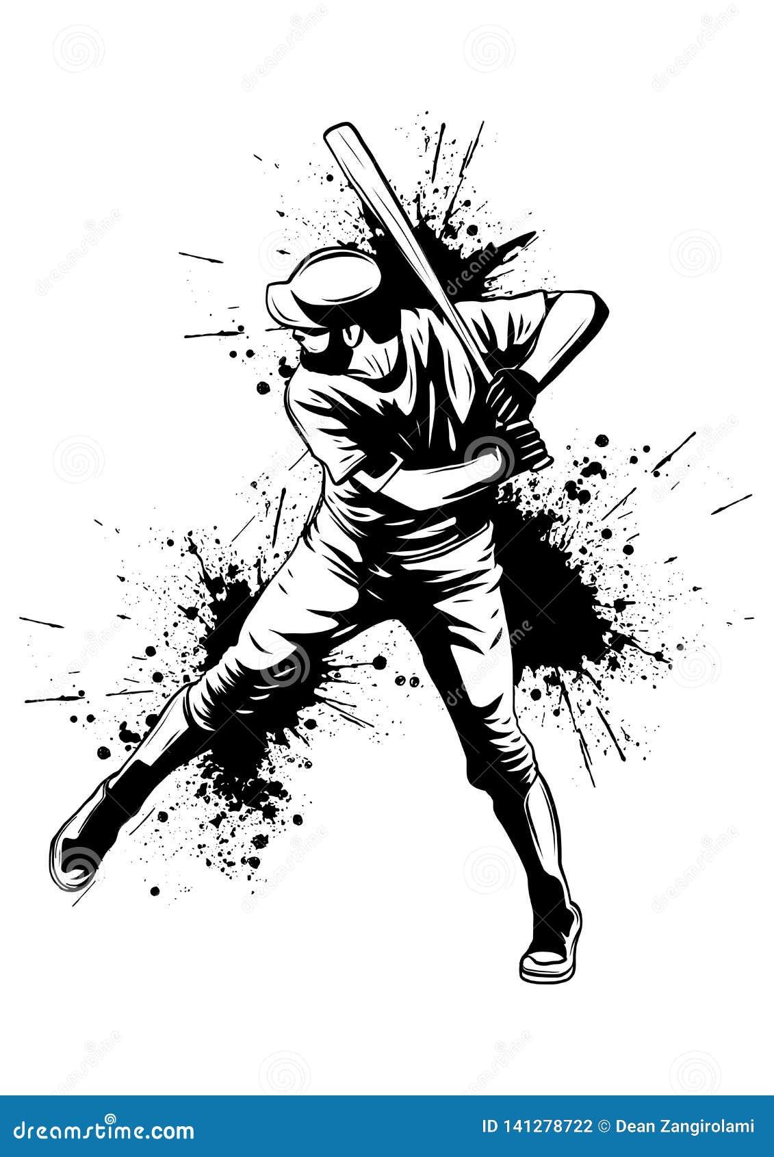 Jogador de beisebol, lançador que balança com bastão, silhueta isolada abstrata do vetor, desenho da tinta