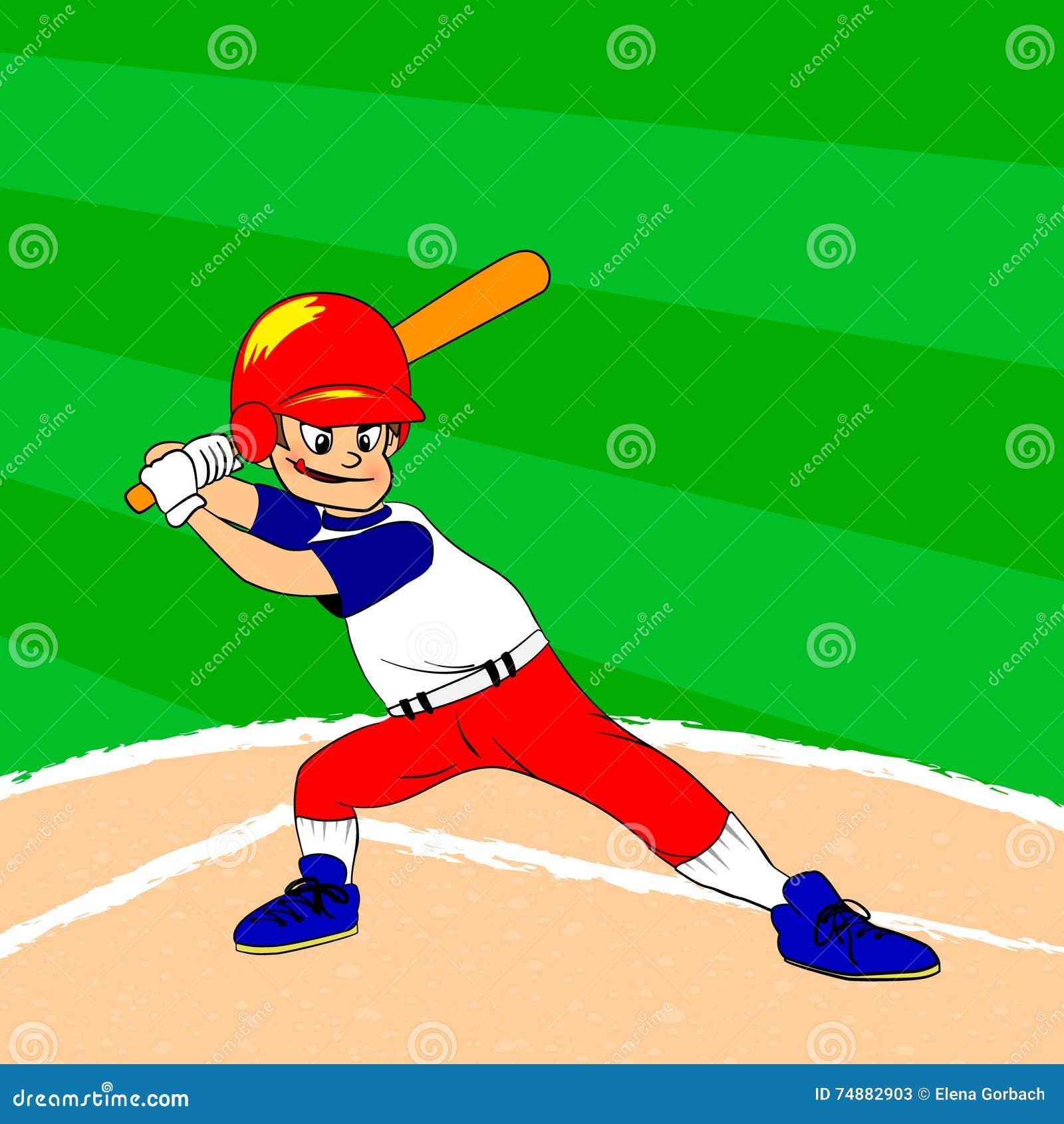 Jogador de beisebol novo com um bastão no seu ombro pronto para golpear Basebol arquivado