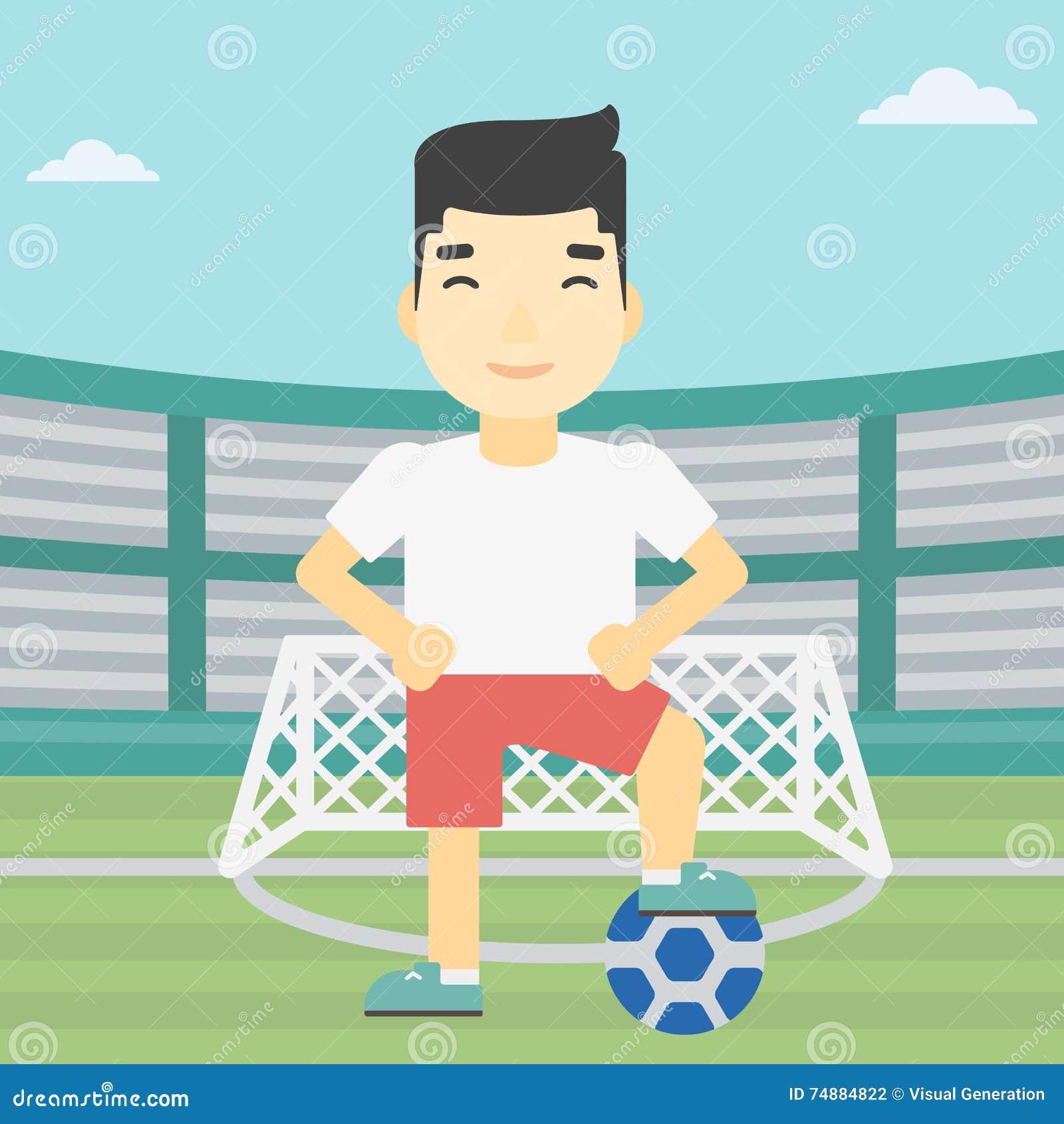 Jogador de futebol com ilustração do vetor da bola