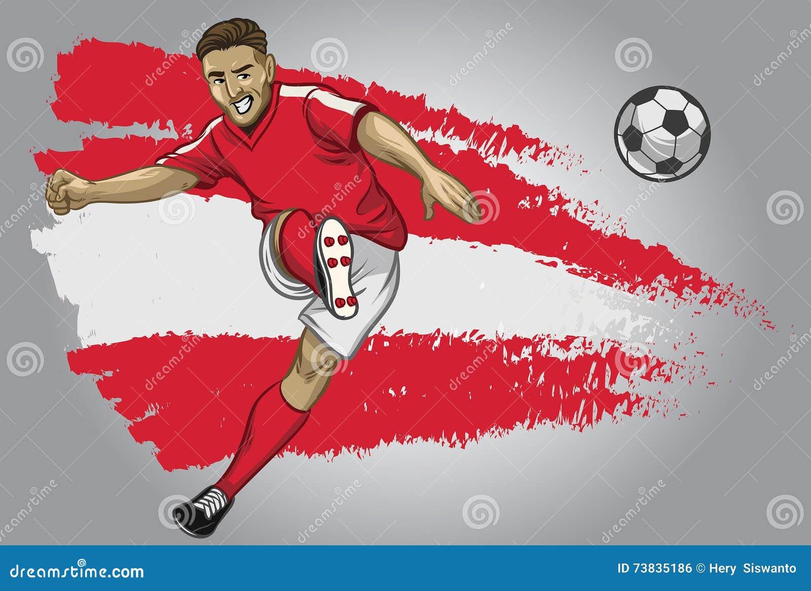 Jogador de futebol de Áustria com bandeira como um fundo