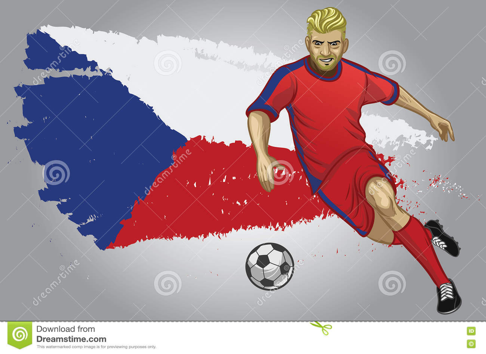 Jogador de futebol de República Checa com bandeira como um fundo