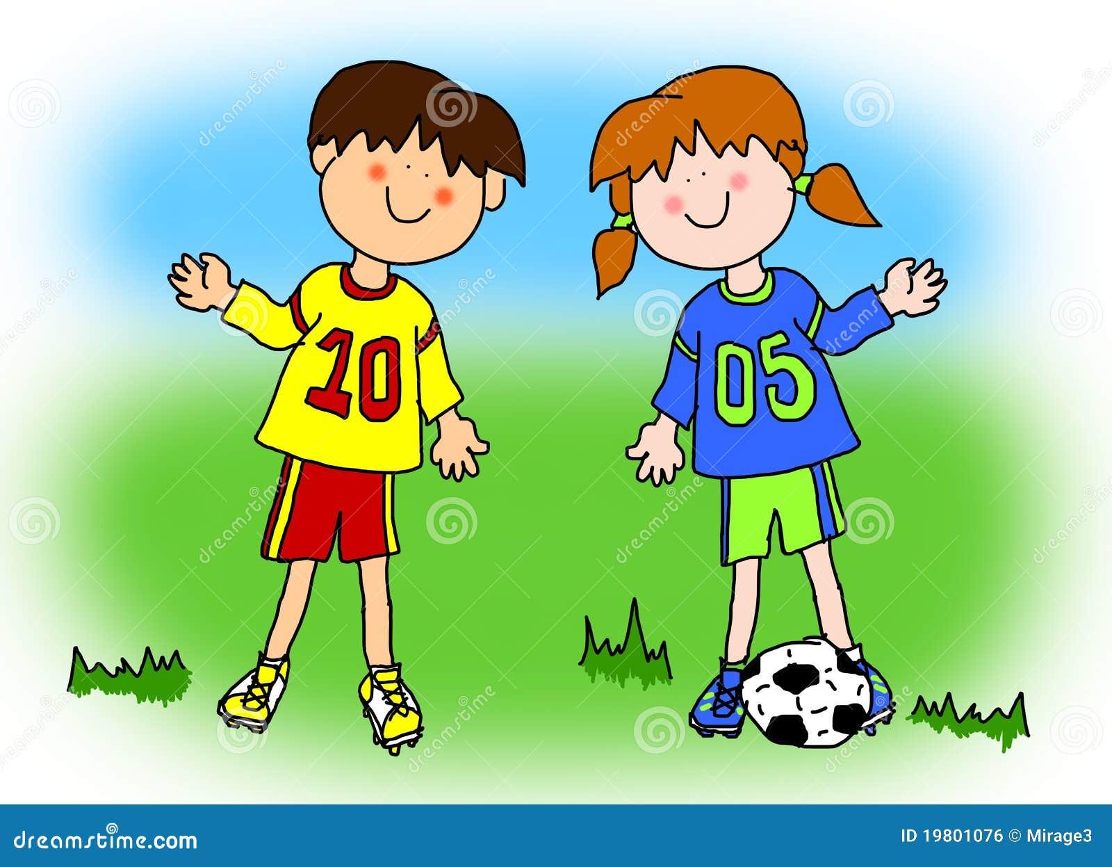 jogador de futebol dos desenhos animados do menino e da
