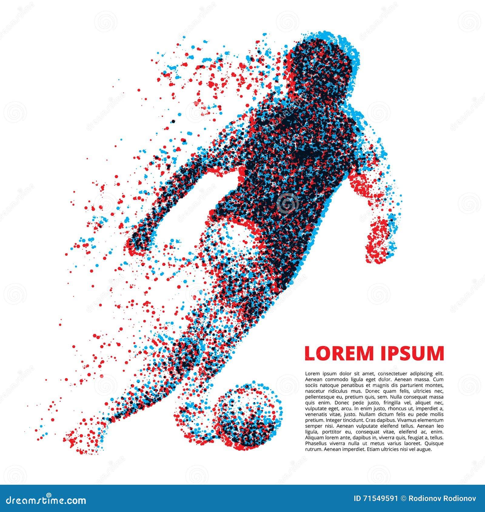 Jogador de futebol na dinâmica em partículas pequenas
