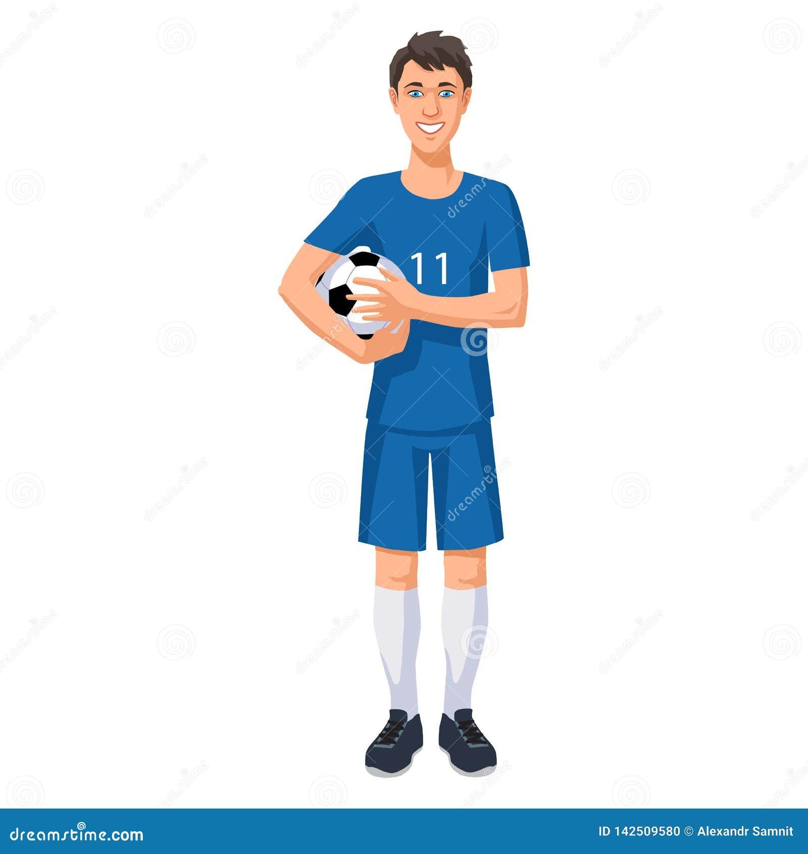 Jogador de futebol novo com uma bola
