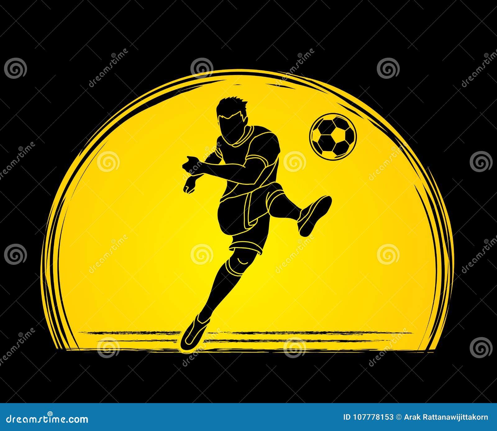 Jogador de futebol que dispara em um vetor do gráfico da ação da bola