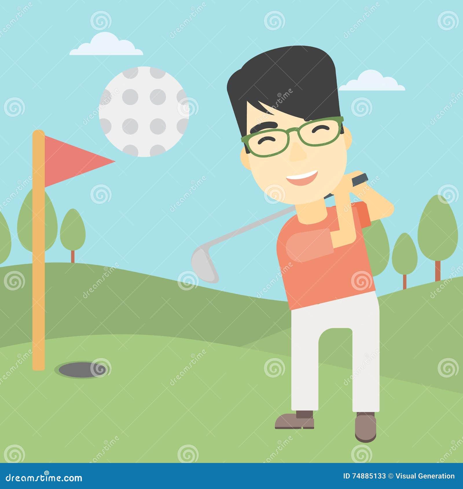 Jogador de golfe que bate a ilustração do vetor da bola