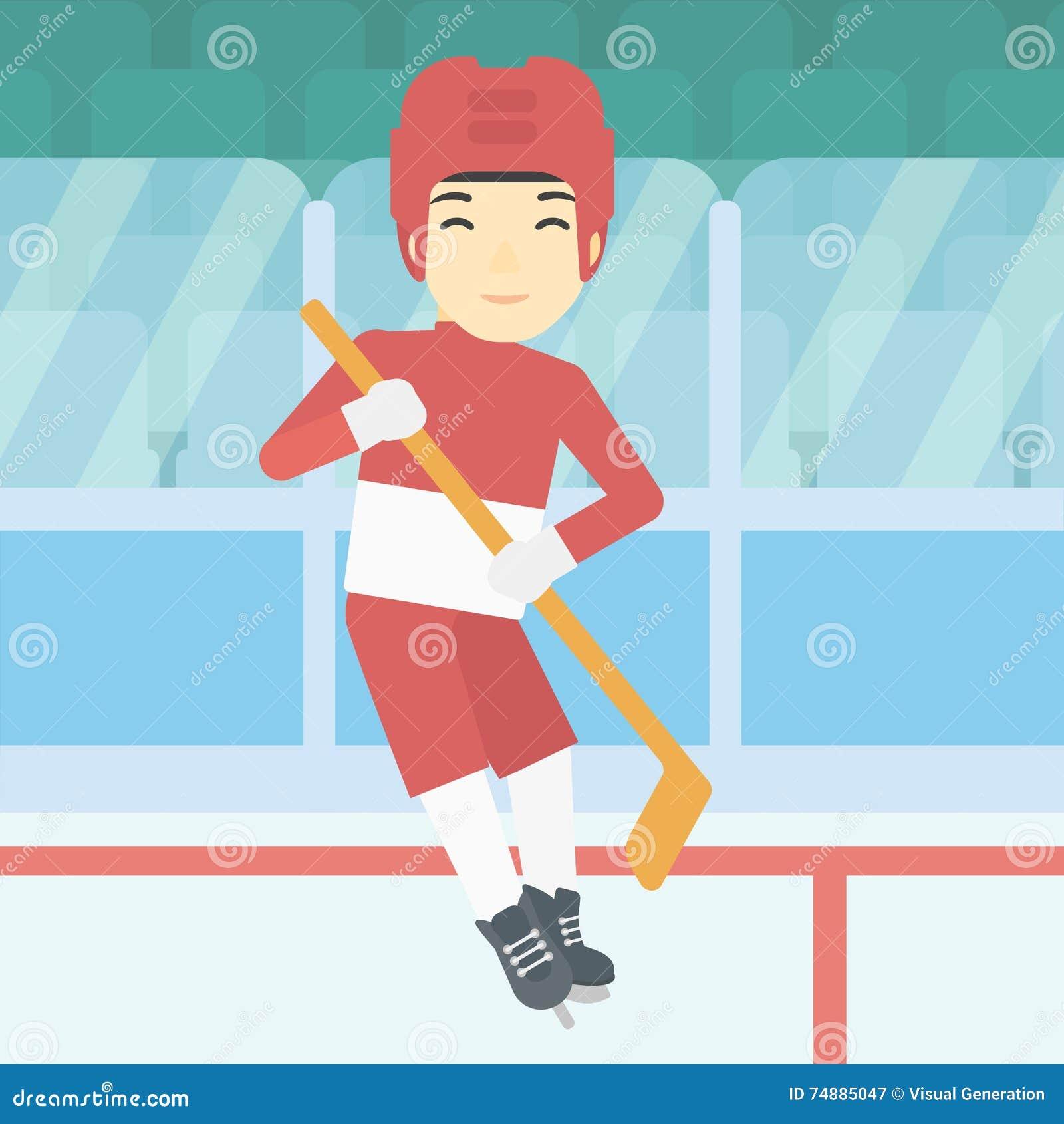 Jogador de hóquei em gelo com ilustração do vetor da vara