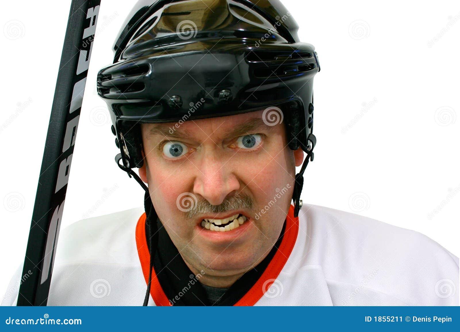 Jogador do hóquei na caixa de penalidade
