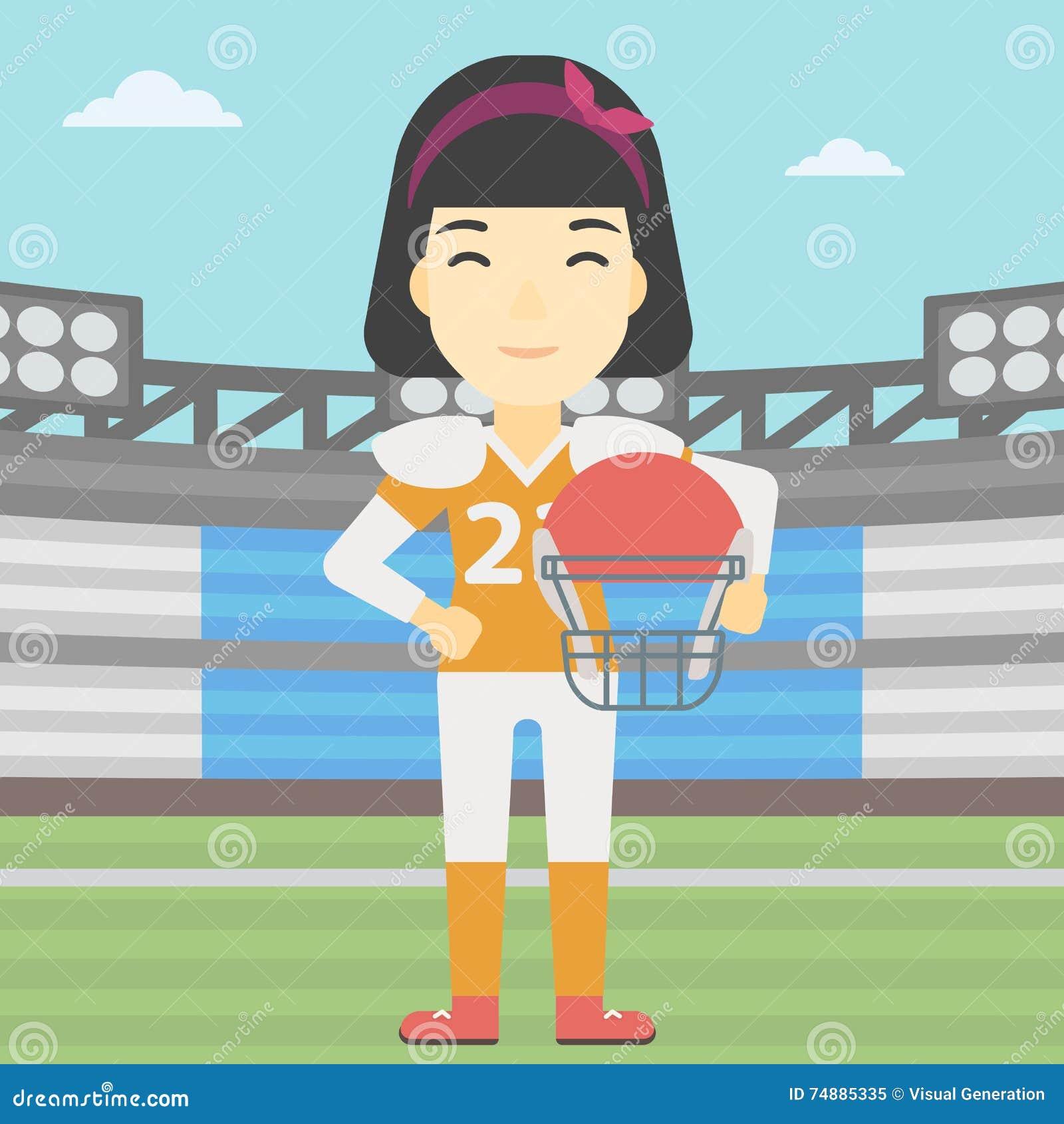 Jogador do rugby com bola e capacete nas mãos