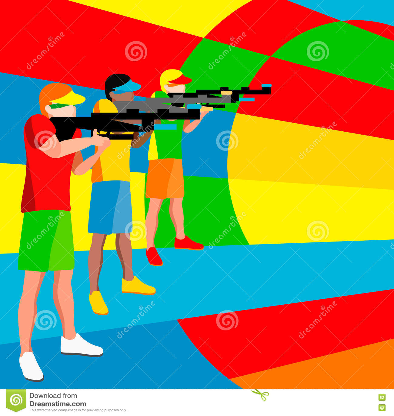 Jogador do tiro 2016 jogos do verão atleta isométrico do atirador 3D