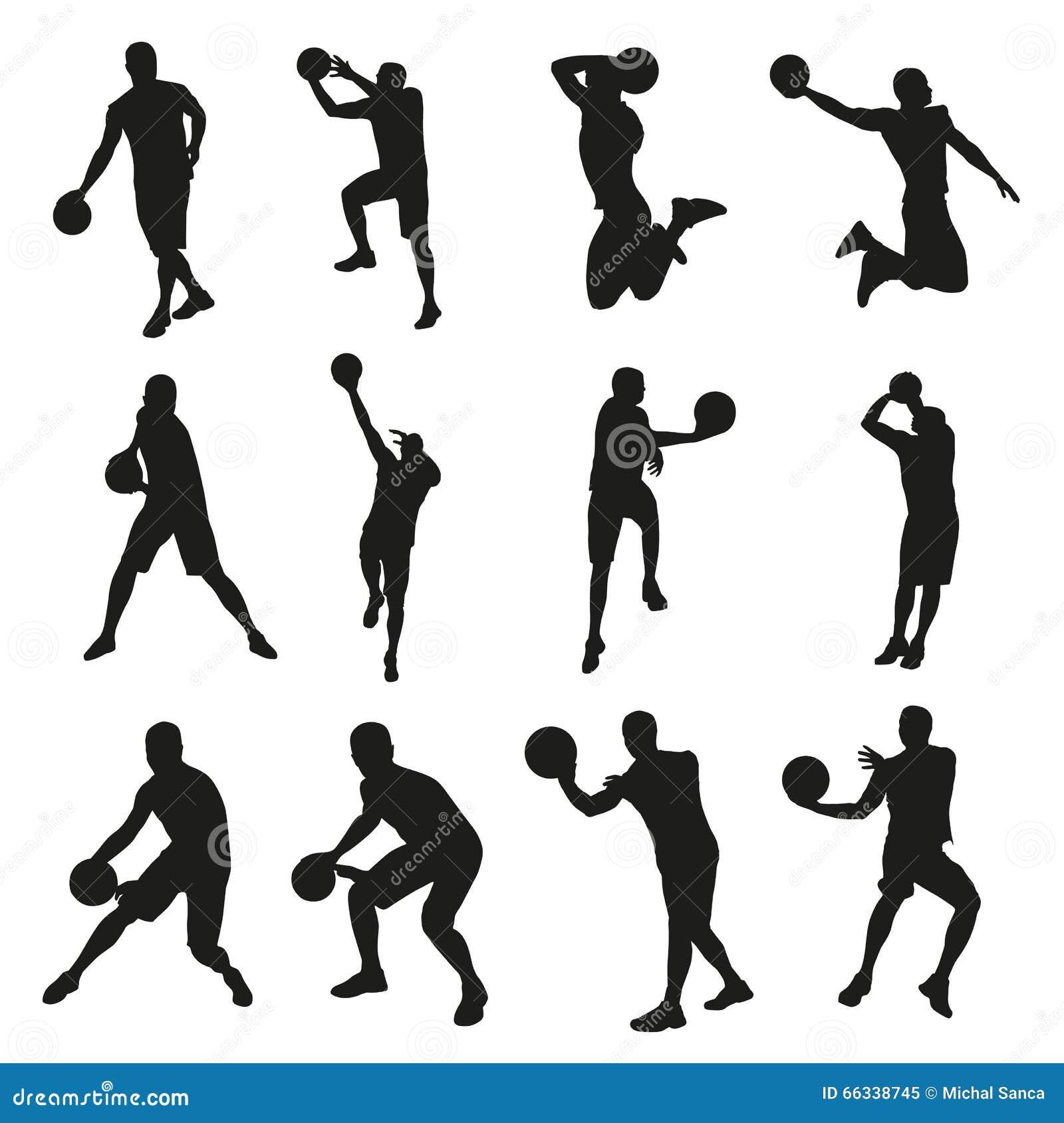 Jogadores de basquetebol, grupo de silhuetas do vetor